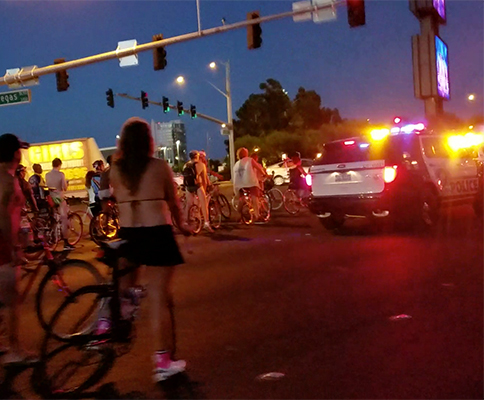 Las Vegas Police Block Off The Strip For Naked Bike Riders